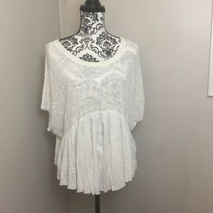 Free people white boho peasant blouse w/ eyelet